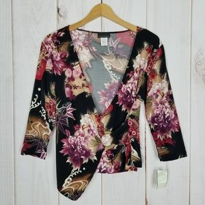 Brittany Black | Floral Faux Wrap Blouse - Large